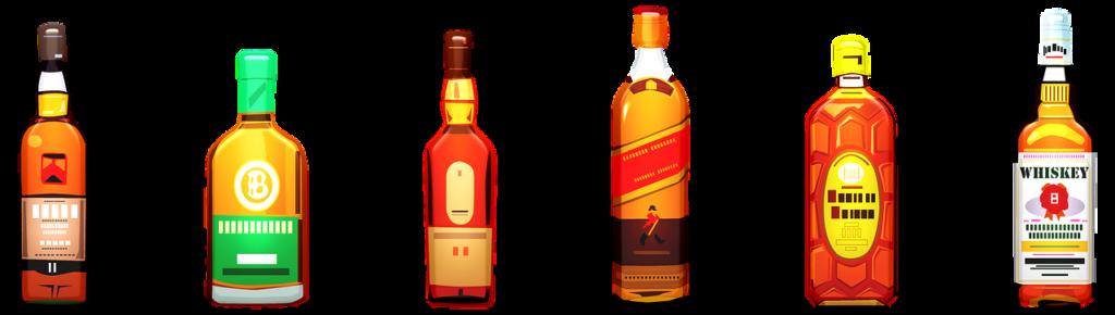 בקבוקים של וויסקי